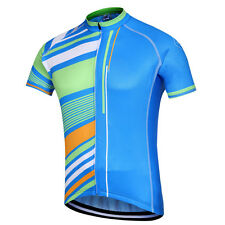 Blue Stripes Men's Cycling Jersey Riding Biking Shirt Bike Cycling Jacket S-5XL