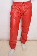 Red leather Sweat pant jogging pant track street wear hip hop sports Rap