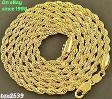 Rope Necklace18KGold Overlay 2-3-4-5-6mm18-30 inches LIFETIME WARRANTY FREE SHIP