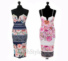 New Ladies Strappy Pink Floral Midi Dress Women Cami Bodycon Dress UK8-14