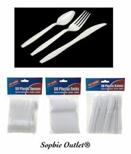 Heavy Duty Disposable Cutlery White Plastic Knives - Spoons - Forks Party BBQ