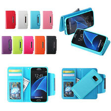 Magnetic Detachable Pu Leather Wallet Card Pouch Case Cover For iphone Samsung
