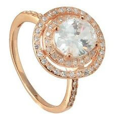 14K ROSE VERMEIL HALO CUBIC ZIRCONIA WEDDING ENGAGENENT RING-925/SS-