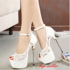 Sexy Womens Hallow out Peep Toe Shoes Sandals Ankle strap Stilettos High Heels
