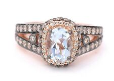 LeVian Aquamarine Chocolate Diamond Cocktail RING 14k Rose Gold NEW with tags