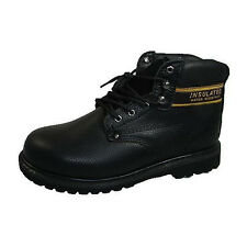 Labo TH512 Mens Black Leather Lace Up Insulated Oil Water Resistant Work Boots