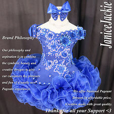 National Pageant Dress Off Shoulder Flare Glitz Royal Blue 1-2, 3-4, 5-7, 8-10T