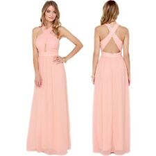 Sexy Cross Backless High Waist Pleated Evening Bridesmaid Maxi Long Gown Dress