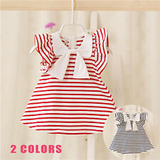 Baby Toddler Girl Kids Cotton Outfit Clothes Bow-knot Strip Dress infant Dress
