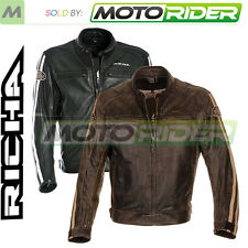 Richa Retro Racing Leather Motorcycle Vintage Motorbike Jacket | All Colours