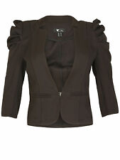 Cutie Womens Ladies Cropped Puff Detail 3/4 Sleeve Blazer Jacket Collarless