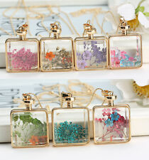 Square Real Dried Pressed Flower Pendant Necklace Glass Gold Floating Locket New