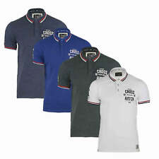 Mens Polo T Shirt Crosshatch 'Wayback' Tipped Pique Cotton Short Sleeved  S-XXL