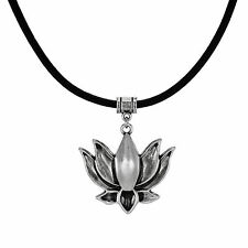 Jewelry by Dawn Pewter Lotus Greek Leather Cord Necklace