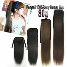 16''18''20''22'' 24'' Remy Ponytail Clip In 100%Real Human Hair Extensions 80g