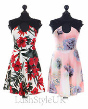 New Ladies Lace Insert Floral  Skater Dress Women Lace Skater Dress UK 8-16