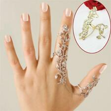 Lady Punk Rock Gothic Gold Silver Crystal Flower Double Full Finger Knuckle Ring