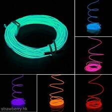 5M Cool Flexible EL Neon Light Glow Strip Rope Wire Tube+12V Inverter For Car