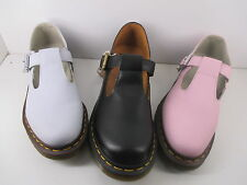 Dr Martens Polley Buckle T-Bar Airwair Shoe Black Pastel Blue & Pink