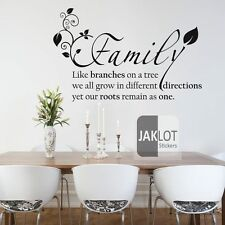 Family Like Branches Wall Art Quote leaves - Vinyl Sticker, Decal, Decor