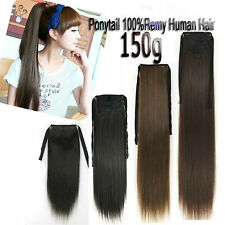150g 26''28''30'' Remy Clip In 100%Real Human Hair Extensions Ponytail Hair Clip