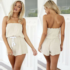 Hot Women's Summer Tunic Casual Jumpsuits Ladies Sexy Shoulder Off Short Rompers