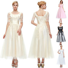 Half Sleeve Lace Bridesmaids Ball Gown Evening Prom Formal Party Long Dress Plus