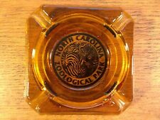 Vintage 3.5'' Square Amber Glass NC Zoological Park Tobacco Cigarette Ashtray