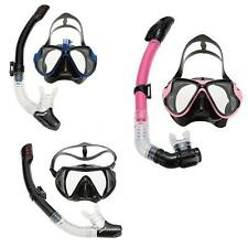 Adult Snorkeling Tempered Glass Diving Mask Goggles + Full Dry Tube Great! H8B9