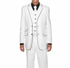 Men's Slim Fit Suits Set Wool Feel with pants and vest included White 5702v1