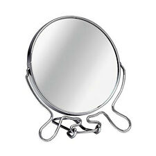Double Sided Cosmetic Shaving Bathroom Mirrors With Chrome Wire Stand