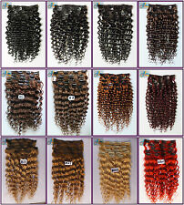 150g 8pcs Deluxe Thick Curly Wavy Virgin Clip In 100%Real Human Hair Extensions