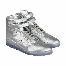 Puma Sky II Hi Platinum Mens Silver Leather High Top Lace Up Sneakers Shoes