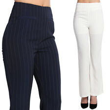 TheMogan Pin Striped High Waisted Flared Trouser Tailored Suitting Pants