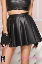 High Waisted Pleated Skirt Faux Leather Mini Dance Fancy Dress