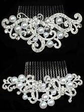 UNUSUAL WEDDING AUSTRIAN CRYSTAL DIAMANTE BRIDAL HAIR COMB CLIP TIARA GIFT
