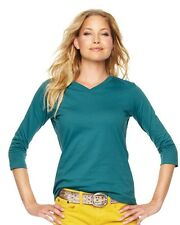 LAT Ladies V-Neck T-Shirt with Three-Quarter Sleeves 3577 S-2XL 6 Colors!