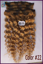 12pcs Curly Hair Clip In Real Human Hair Extensions Deep Wavy Hair Golden Blonde