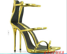 Womens Gold Silver Super High Heel Stilettos Sandals Ankle Shoes Gladiator Roman