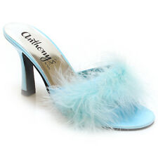 "Women's Feather Fur Maribou Bridal Wedding Slip-on 3""Sandal Sleeper Marilyn3"
