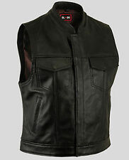 New Mens Motorcycle Leather vest - Sleeveless  Motorcycle  Leather vest-M.