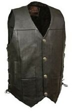 Men's Basic Leather Motorcycle Side Lace Concealed Carry Vest with Buffalo Snaps