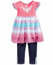 NANNETTE 3T, 4T Girls' 2-Pc. Embroidered Tunic & Pull-On Capri Jeans Set *NWT*