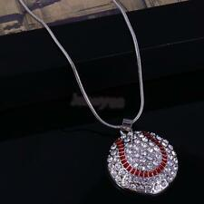 Pendant Rhinestone Necklace Heart Football Volleyball in Chain Sport Jewelry