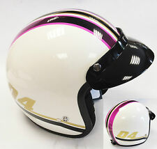 VIPER RS-04 OPEN FACE SCOOTER MOTORCYCLE RETRO HELMET MOD MODERNA PINK
