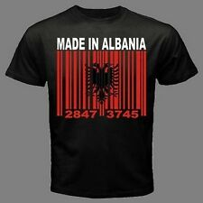 MADE IN ALBANIA Albanian Tirana Barcode Flag black CUSTOM T-shirt  *ALL SIZES