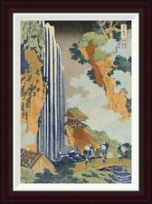 Global Gallery Ono Waterfall, The Kiso Highway by Hokusai Framed Painting Print