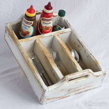 Wooden Tabletop Flatware Holder - 4 Compartments - Small - Raised Handles