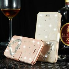 New Bling Diamond Heart Leather Magnetic Flip Wallet Case Cover For Apple iPhone