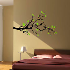 TREE BRANCH LOVE BIRDS FLORAL HEARTS, Wall Art Sticker Decal - 2 COLOUR